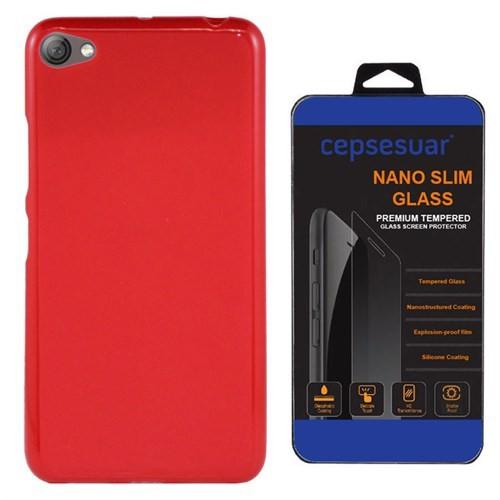 Cepsesuar Lenovo S60 Kılıf Silikon Kırmızı + Cam