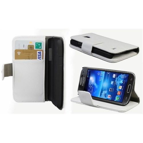 Microsonic Cüzdanlı Standlı Deri Kılıf - Samsung Galaxy S4 Mini İ9190 Beyaz