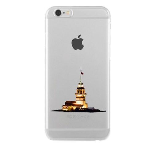 Remeto iPhone 5/5S Şeffaf Transparan Silikon Resimli Kız Kulesi Renkli