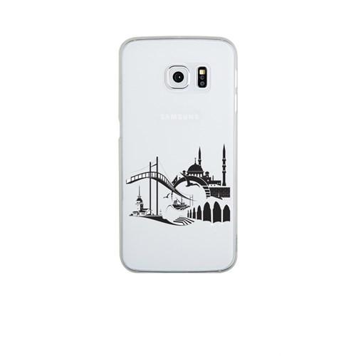 Remeto Samsung Galaxy S6 Şeffaf Transparan Silikon Resimli İstanbul Silüet