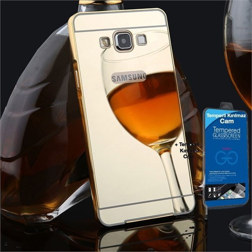 Teleplus Galaxy A5 2016 Kapak Aynalı Gold + Cam Ekran Koruyucu