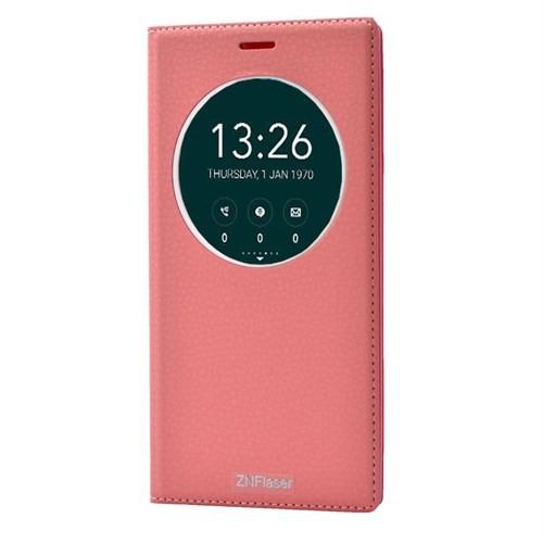 Teleplus Zenfone 2 Laser 6 İnç Pencereli Lüx Kılıf Açık Pembe