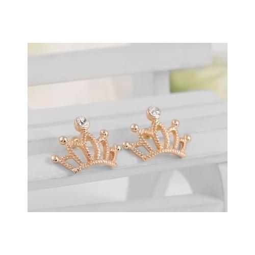 Betico Fashion Altın Kristal Taşlı Taç Küpe