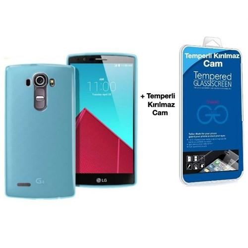 Teleplus Lg G4c Silikon Kılıf Mavi + Cam Ekran Koruyucu