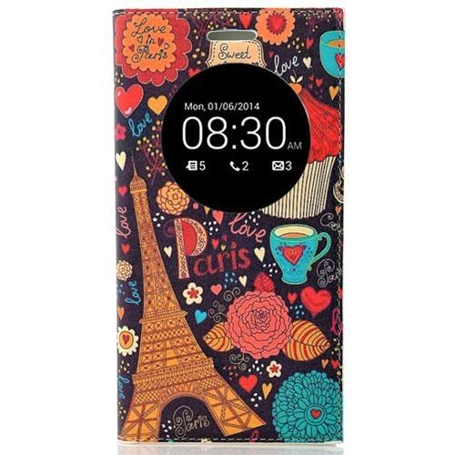 Coverzone Asus Zenfone 5 Lite Kılıf Resimli Kapaklı Pencereli Paris Eyfel Kulesi