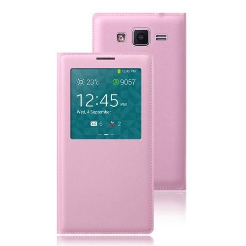 Microsonic View Slim Kapaklı Suni Deri Samsung Galaxy Grand Prime Kılıf Pembe - CS150-V-SLIM-LTHR-GL