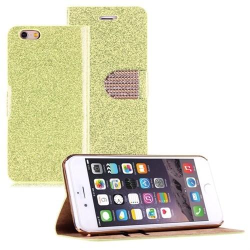 Microsonic iPhone 6 (4.7) Pearl Simli Taşlı Suni Deri Kılıf Sarı - CS150-PRL-IP6-SRI