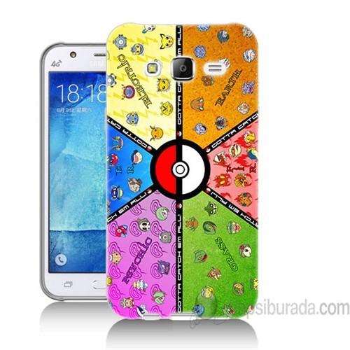 Teknomeg Samsung Galaxy J7 Kapak Kılıf Pokemon Baskılı Silikon
