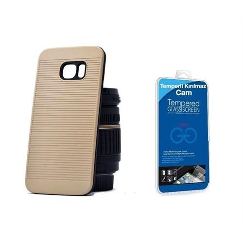 Teleplus Galaxy S7 Edge Çift Katmanlı Kapak Kılıf Gold + Cam Ekran Koruyucu