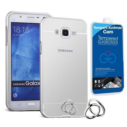 Teleplus Samsung Galaxy J7 Metal Aynalı Kapak Kılıf Gümüş + Cam Ekran Koruyucu