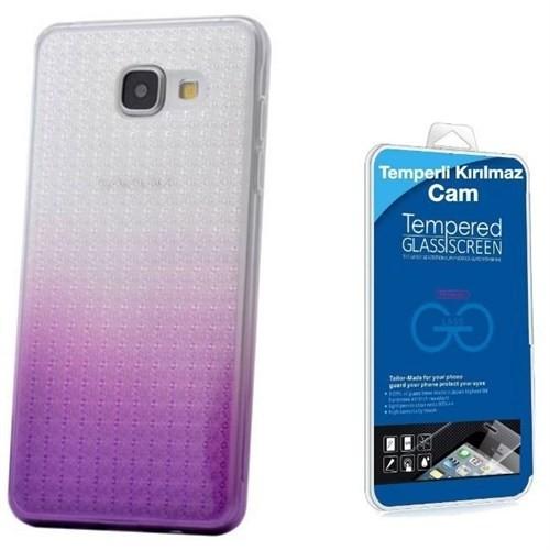 Teleplus Samsung Galaxy A7 2016 Çift Renkli Silikon Kılıf Lila + Cam Ekran Koruyucu