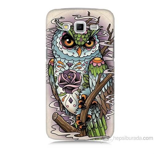 Teknomeg Samsung Galaxy Grand 2 Kapak Kılıf Çiçekli Baykuş Baskılı Silikon