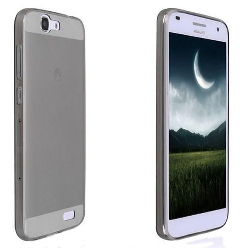 Case 4U Huawei Ascend G7 Ultra İnce Silikon Kılıf Füme