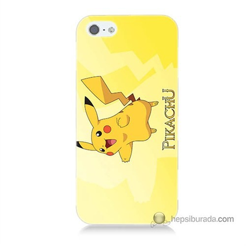 Teknomeg İphone 5S Kapak Kılıf Pokemon Pikachu Baskılı Silikon