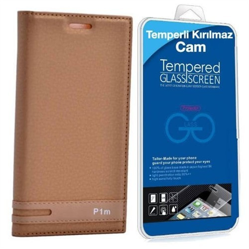 Teleplus Lenovo Vibe P1m Mıknatıslı Kapaklı Kılıf Gold + Cam Ekran Koruyucu
