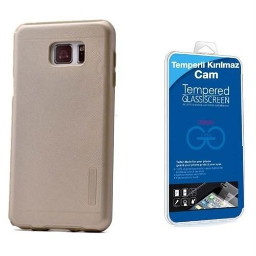 Teleplus Galaxy Note 5 Çift Katmanlı Kapak Kılıf Gold + Cam Ekran Koruyucu