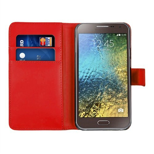 Microsonic Samsung Galaxy E5 Cüzdanlı Suni Deri Kılıf Kırmızı - CS150-WLT-GLX-E5-KRZ