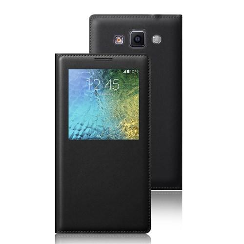 Microsonic View Slim Kapaklı Suni Deri Samsung Galaxy E5 Kılıf Siyah - CS150-V-SLIM-LTHR-GLX-E5-SYH