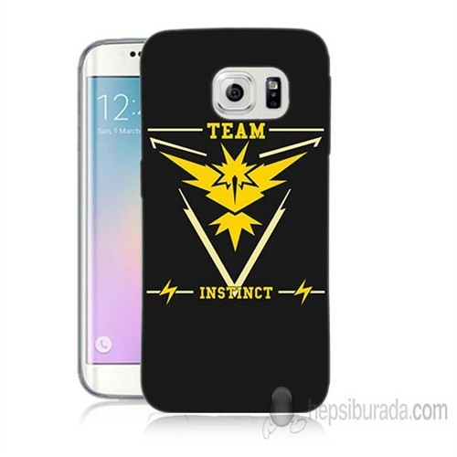 Teknomeg Samsung Galaxy S6 Edge Plus Kapak Kılıf Pokemon Team Instinct Baskılı Silikon