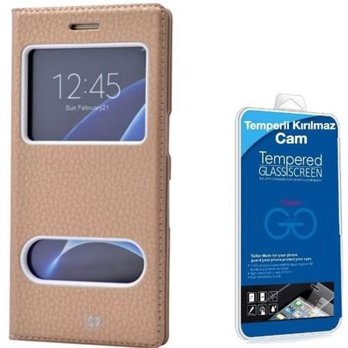 Teleplus Samsung Galaxy S7 Çift Pencereli Kılıf Gold + Cam Ekran Koruyucu