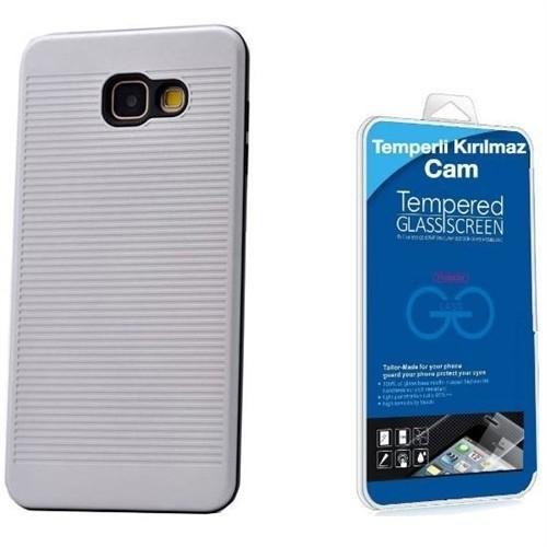 Teleplus Galaxy A3 2016 Çift Katmanlı Desenli Kapak Gümüş + Cam Ekran Koruyucu