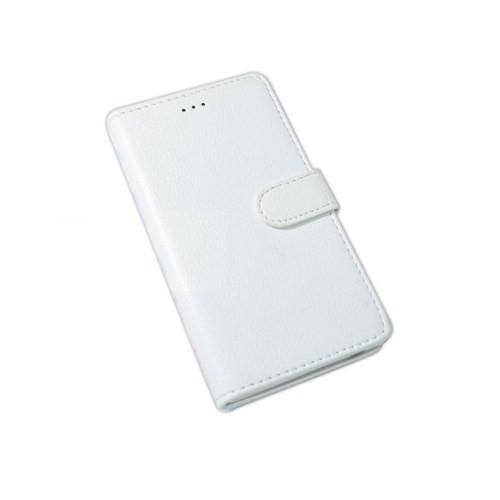 Qapak Turkcell T50 Standlı Cüzdanlı Beyaz Suni Deri Kılıf uz244434009361