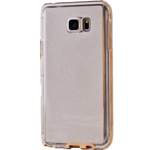 Lopard Samsung Galaxy S6 Kılıf Kumlu Bumper Silikon Arka Kapak Altın