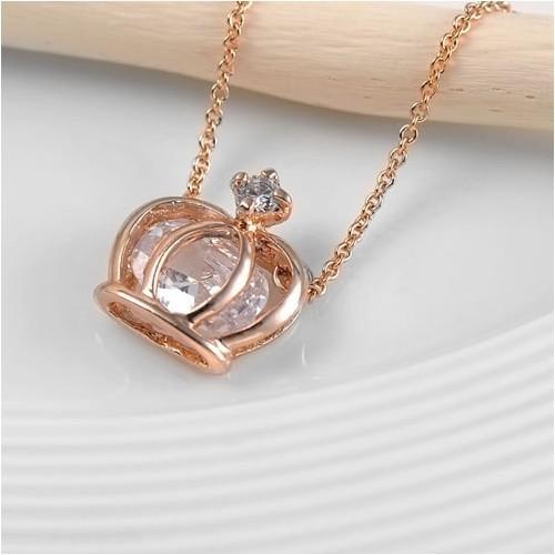 Betico Fashion Rose Gold Kristal Taşlı Taç Kolye