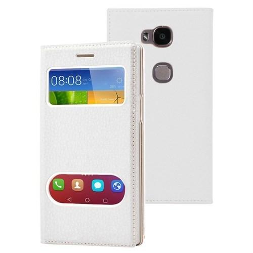 Microsonic Huawei Gr5 (Honor 5X/X5) Kılıf Gizli Mıknatıslı View Delux Beyaz