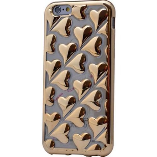 Teleplus İphone 6 Kalp Görünümlü Silikon Kılıf Gold