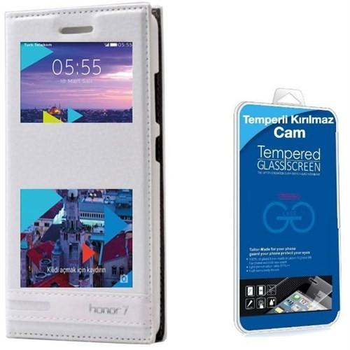 Teleplus Turk Telekom Honor 7 Çift Pencereli Lüx Kılıf Beyaz + Cam Ekran Koruyucu
