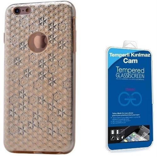 Teleplus İphone 6 Plus Desenli Silikon Kılıf Gold + Cam Ekran Koruyucu