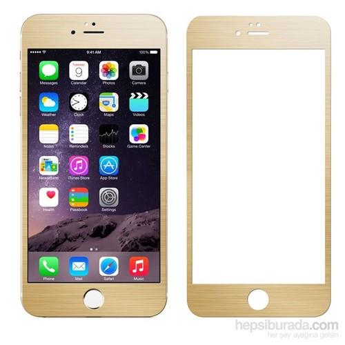 Case 4U Apple iPhone 6 Plus Alüminyum Metal Kenarlı Cam Ekran Koruyucu-Altın