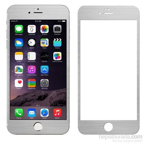 Case 4U Apple iPhone 6 Plus Alüminyum Metal Kenarlı Cam Ekran Koruyucu-Gümüş