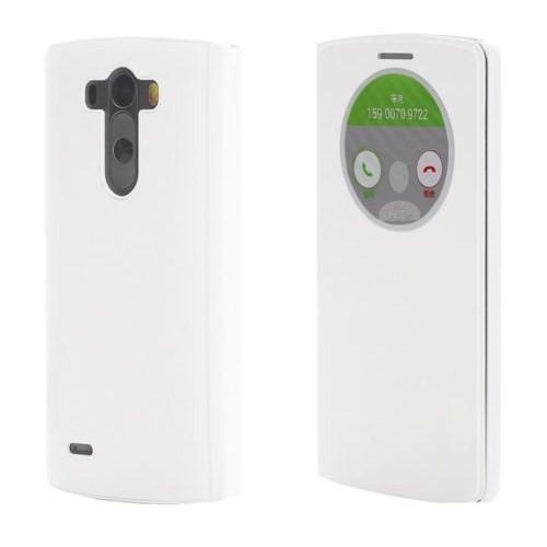 Microsonic LG G3 S (G3 Mini, G3 Beat) View Cover Delux Kapaklı Kılıf Akıllı (Uyku Modlu)Beyaz-CS150-