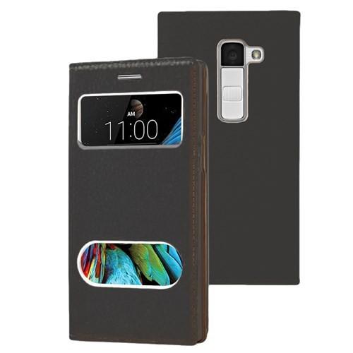 Microsonic Lg K10 Kılıf Dual View Gizli Mıknatıslı Siyah