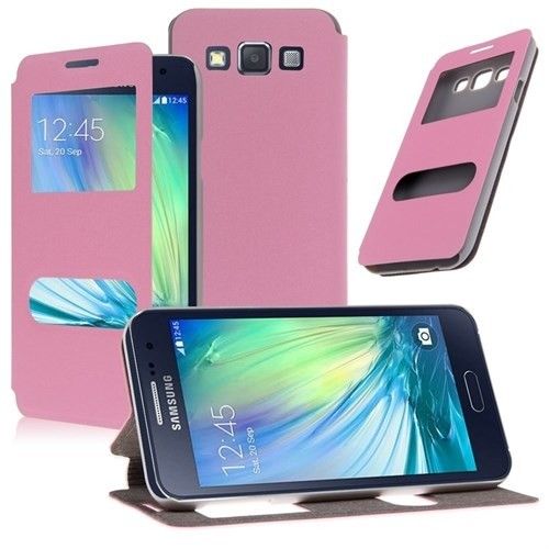 Teleplus Samsung Galaxy E7 Çift Pencereli Standlı Kılıf Pembe
