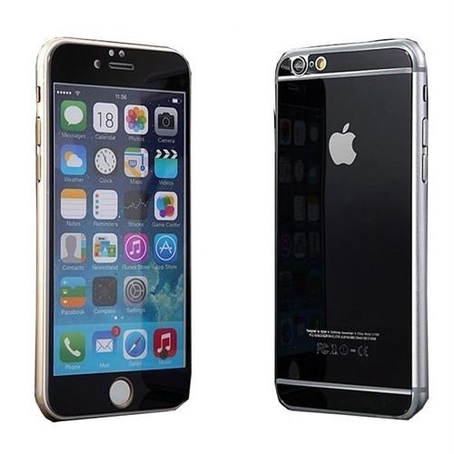 Teleplus İphone 6 Plus Renkli Cam Ekran Koruyucu Ön + Arka Cam Ekran Koruyucu Siyah