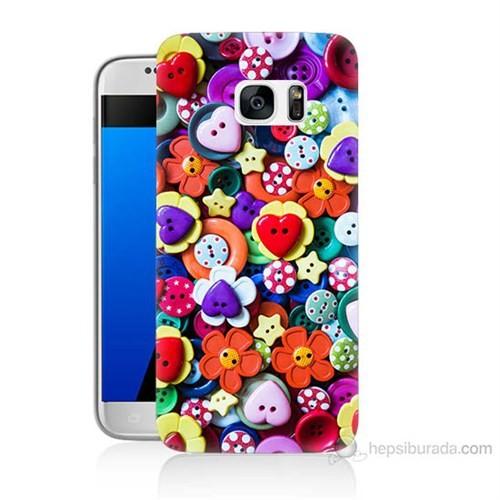 Teknomeg Samsung Galaxy S7 Kapak Kılıf Düğmeler Baskılı Silikon