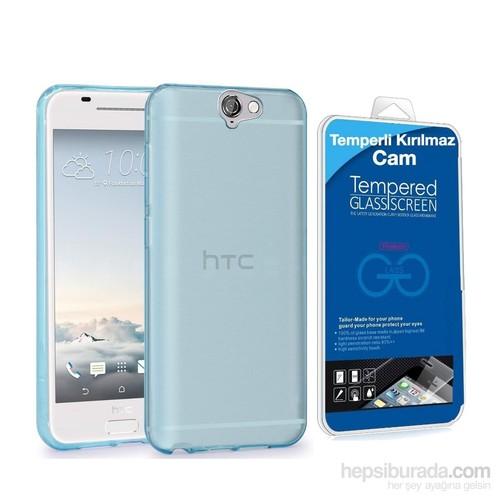 Teleplus Htc One A9 Silikon Kılıf Mavi + Temperli Cam Ekran Koruyucu