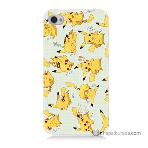 Teknomeg İphone 4 Kapak Kılıf Pokemon Pikachu Baskılı Silikon