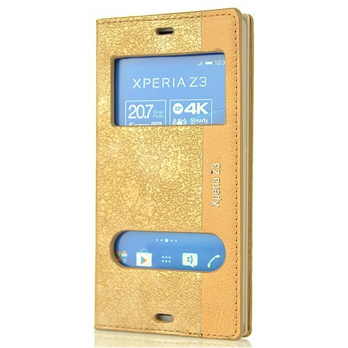 Coverzone Sony Xperia Z3 Kılıf Veezed Çift Pencere Kapaklı