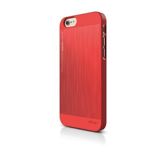 Elago Apple iPhone 6 S6 Outfit Matrix Series Kılıf - Kırmızı (Ekran Koruyucu Hediye)