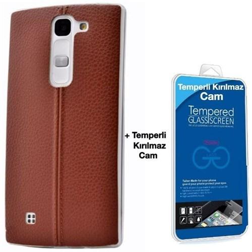 Teleplus Lg G4c Dikişli Silikon Kılıf Kahve + Cam Ekran Koruyucu
