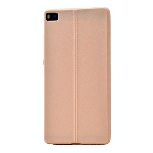 Teleplus Huawei P8 Deri Görünümlü Silikon Kılıf Krem