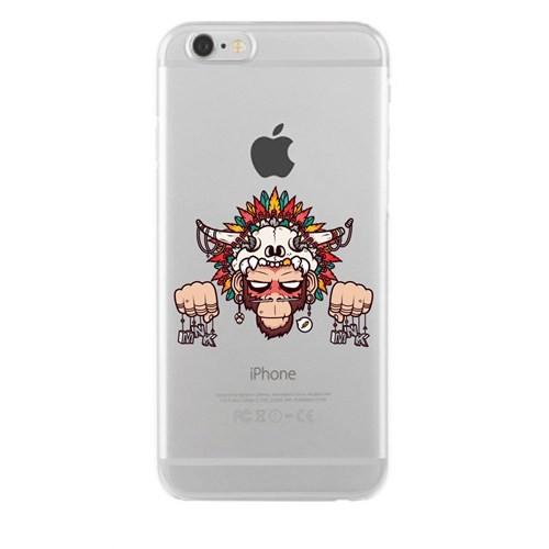 Remeto iPhone 6/6S Şeffaf Silikon Resimli Kızılderili Maymun