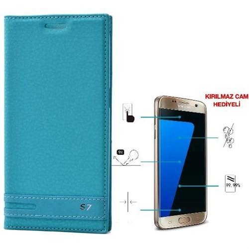 Teleplus Samsung Galaxy S7 Mıknatıslı Kılıf Turkuaz + Cam Ekran Koruyucu