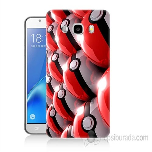 Teknomeg Samsung Galaxy J7 2016 Kapak Kılıf Pokemon Pokeball Baskılı Silikon