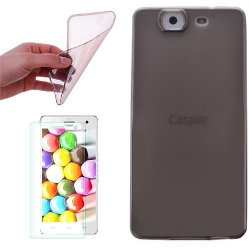 Cep Market Casper Via V5 Kılıf 0.2Mm Antrasit Silikon + Cam