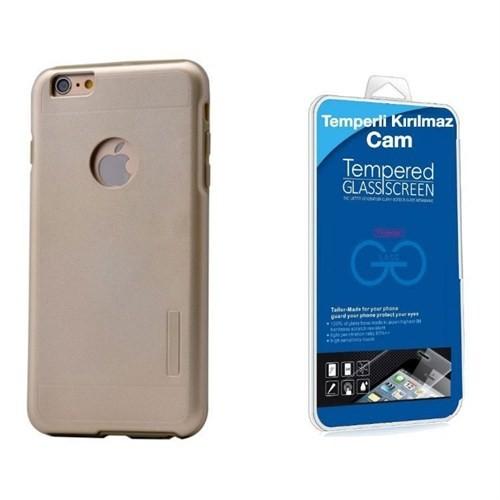Teleplus İphone 6 Plus Çift Katmanlı Kapak Kılıf Gold + Cam Ekran Koruyucu
